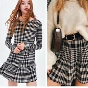 Zara Plaid Ruffled Hem Dress Size M